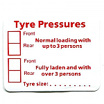 Tyre Pressure Sticker. 60 x 48mm