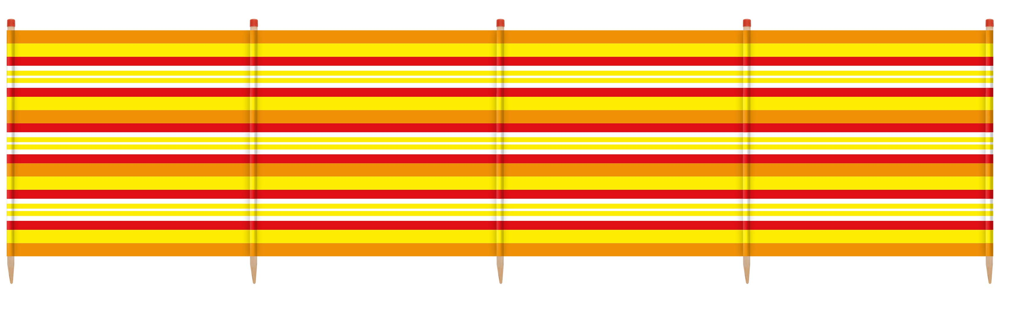 6 Pole Extra Tall Windbreak - 150 x 371cm. Yellow Stripe