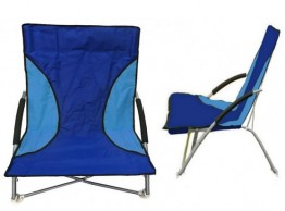 Low Folding Beach Chair with Foam Arms Assorted Colours