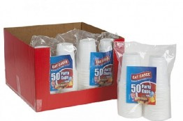 Plastic Cups 200ml Pack of 50 in CDU of 8