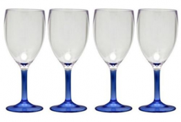 Coloured Stem Wine Glass (Blue) 4 Pack