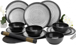 Grey Granite Melamine 12 Piece Dinner set