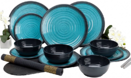 Aqua Granite Melamine 12 Piece Dinner set