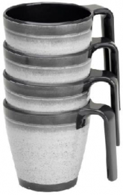 Grey Granite Stackable Mug Set – Pack of 4