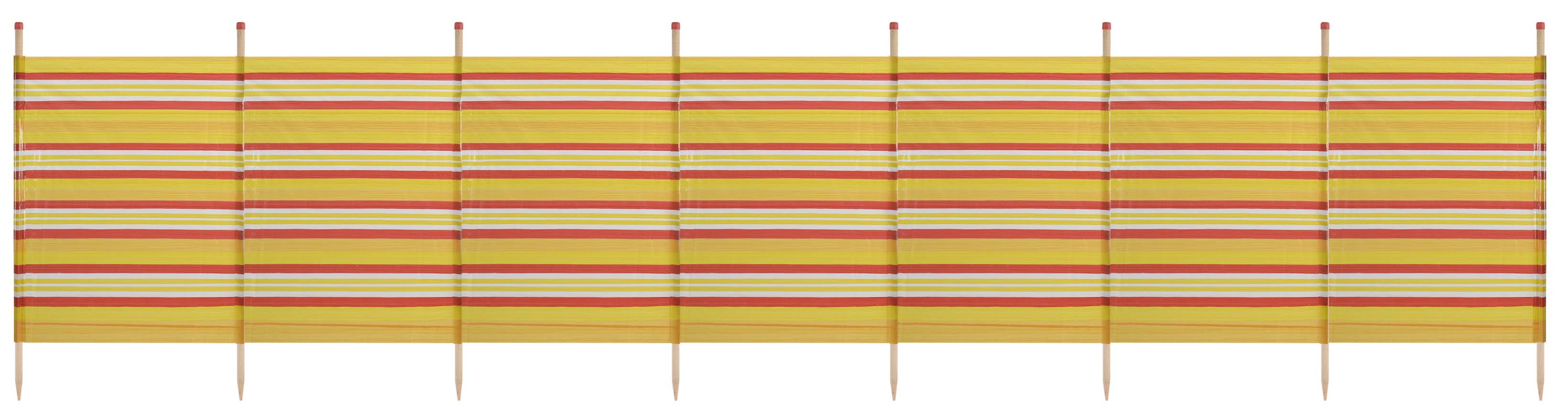 8 Pole Extra Tall Windbreak - 150 x 462cm. Yellow Stripe