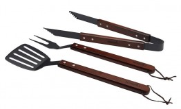 Elite Wooden Handled BBQ Tool Set