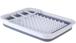 Collapsible Dish Drainer - White /Grey