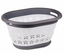 Collapsible Laundry Basket - White/Grey