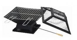 Square Firepit with BBQ Grill
