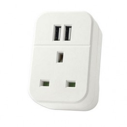 Plug with 2 usb sockets