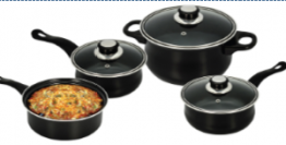 7 Piece Cookware set black