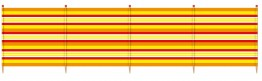 6 Pole Extra Tall Windbreak - 150 x 371cm. Yellow Stripe - (Box 6)