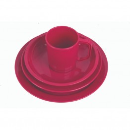 Light Weight Picnic Set in Raspberry - Plates, Bowls and Mugs